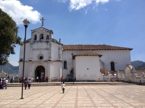 Zinacantán's large and flower filled church