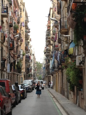 One of Barceloneta's narrow streets